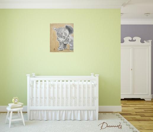 Tableau enfant bébé éléphant jungle vert peluche beige marron taupe mixte fille garçon décoration chambre vert safari brousse nature