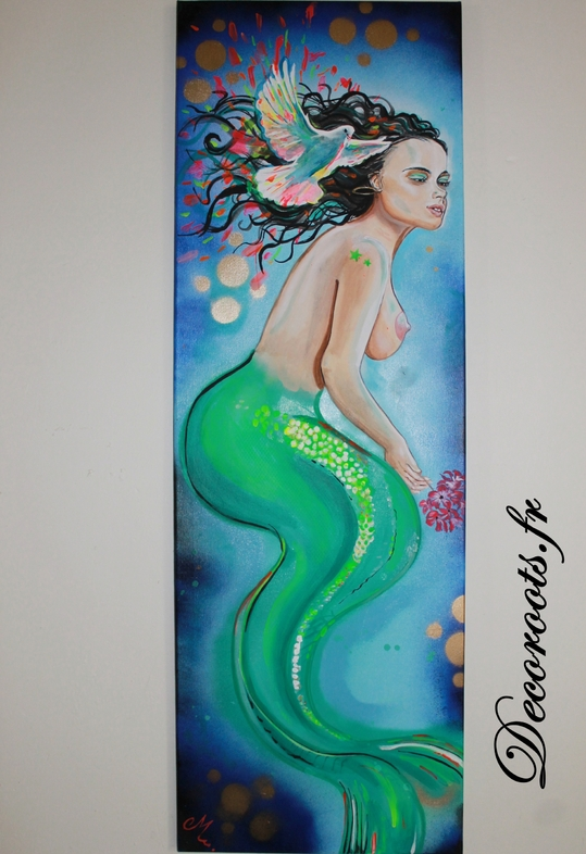 tableau-art-artiste-contemporain-moderne-sirene-mer-colombe-paix-fluo-2
