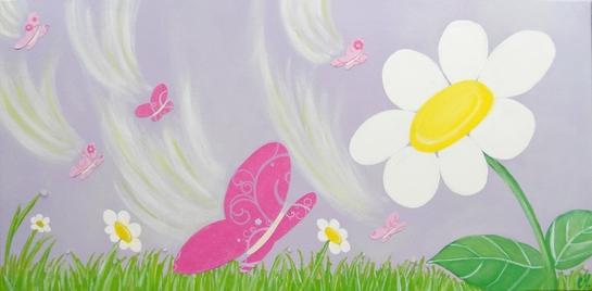 tableau enfant bébé envol de papillons