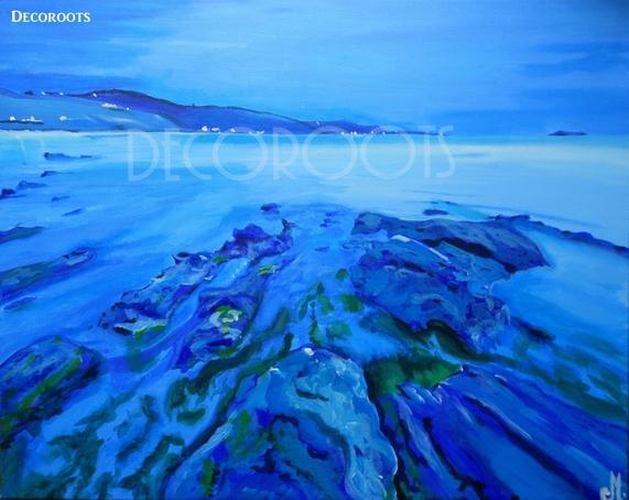 tableau plage mer nébuleuse bleu grand format