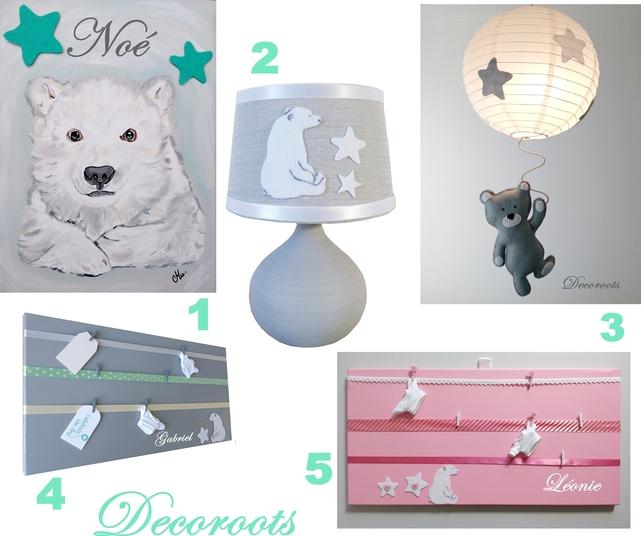 décoration enfant bébé ours polaire gris blanc étoile luminaire tableau