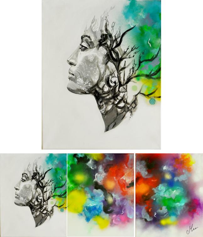 tableau-art-contemporain-triptyque-femme-nature-tache-couleur-nuage-multicolore-zen-2