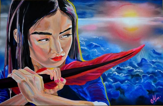 tableau-art-contemporain-femme-samourai-sabre-plume-coucher-de-soleil