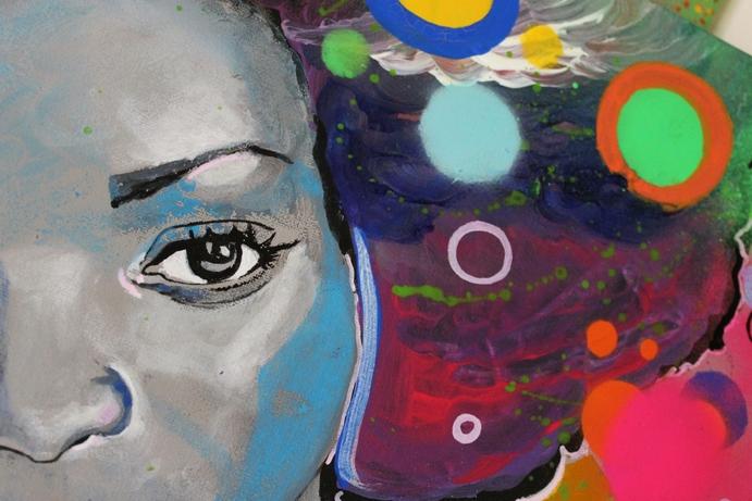 tableau artiste art peintre contemporain femme noire pop multicolore 4