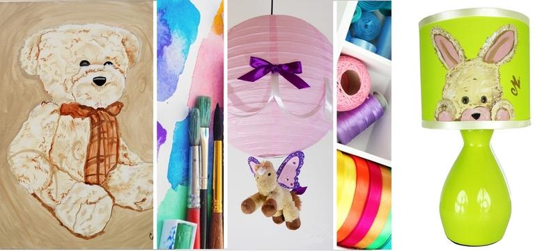 décoration enfant bébé fille thème fée poupée papillon luminaire lampe lustre coeur ours cheval lapin forêt jungle