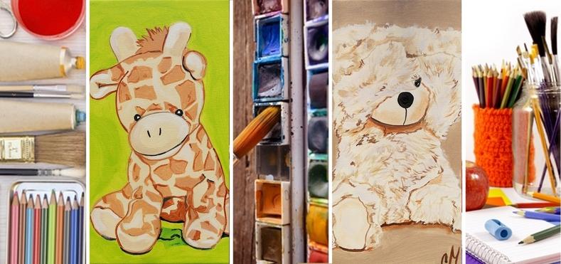 tableau enfant bébé décoration peint à la main ours jungle girafe