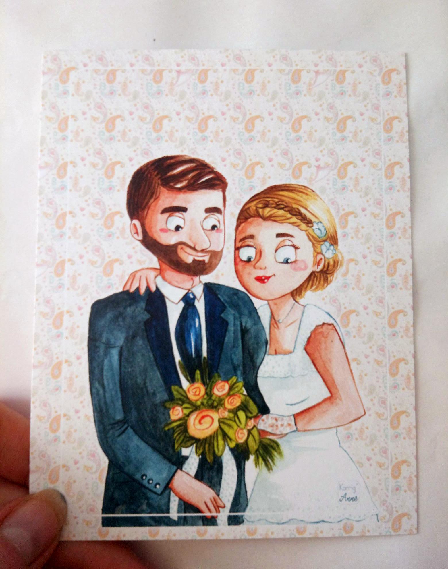 Carte postale Jolis mariés