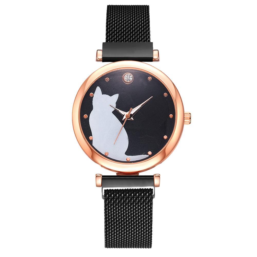 5-pi-ces-ensemble-femmes-montres-or-Rose-Bracelet-ensemble-motif-chat-noir-aimant-montre-dames