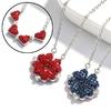 Mode-femmes-filles-alliage-collier-cr-atif-rouge-bleu-Double-face-quatre-coeur-tr-fle-pendentif