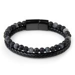 2019-mode-hommes-bijoux-pierre-naturelle-Bracelet-en-cuir-v-ritable-noir-en-acier-inoxydable-fermoir