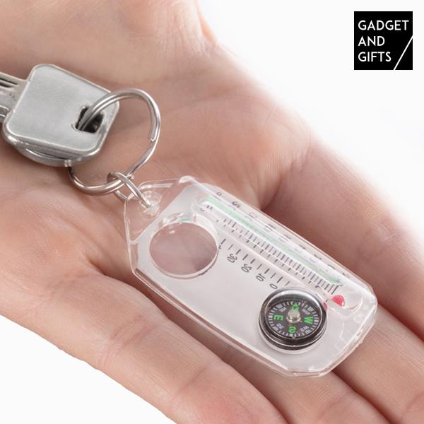 Porte-clés Boussole, Loupe et Thermomètre Gadget and Gifts