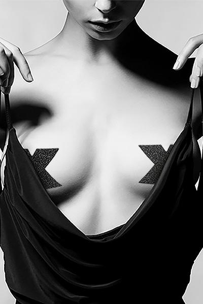 Bijoux de seins Flash Croix Noir