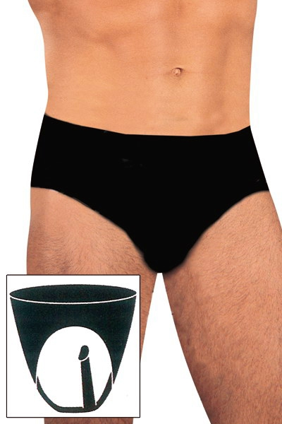 Slip latex avec gode anal interne