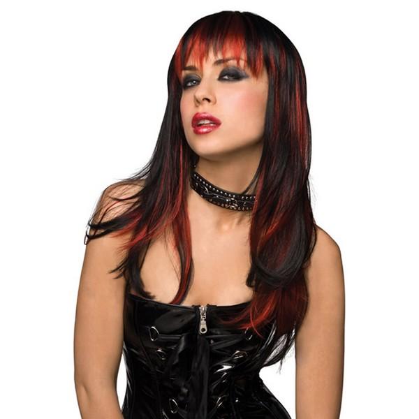 Noir avec Rouge brûlé Pleasure Wigs 81314