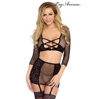 Ensemble sexy filet et dentelle Strappy