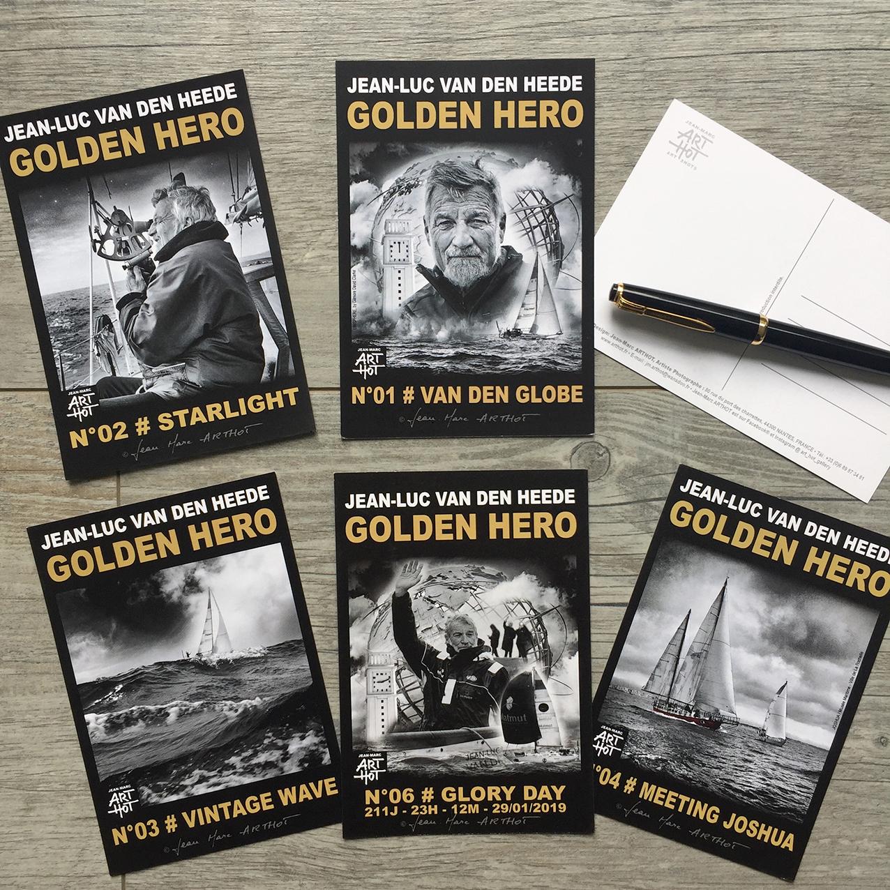 LOT DE 5 CARTES POSTALES VDH-GOLDEN HERO