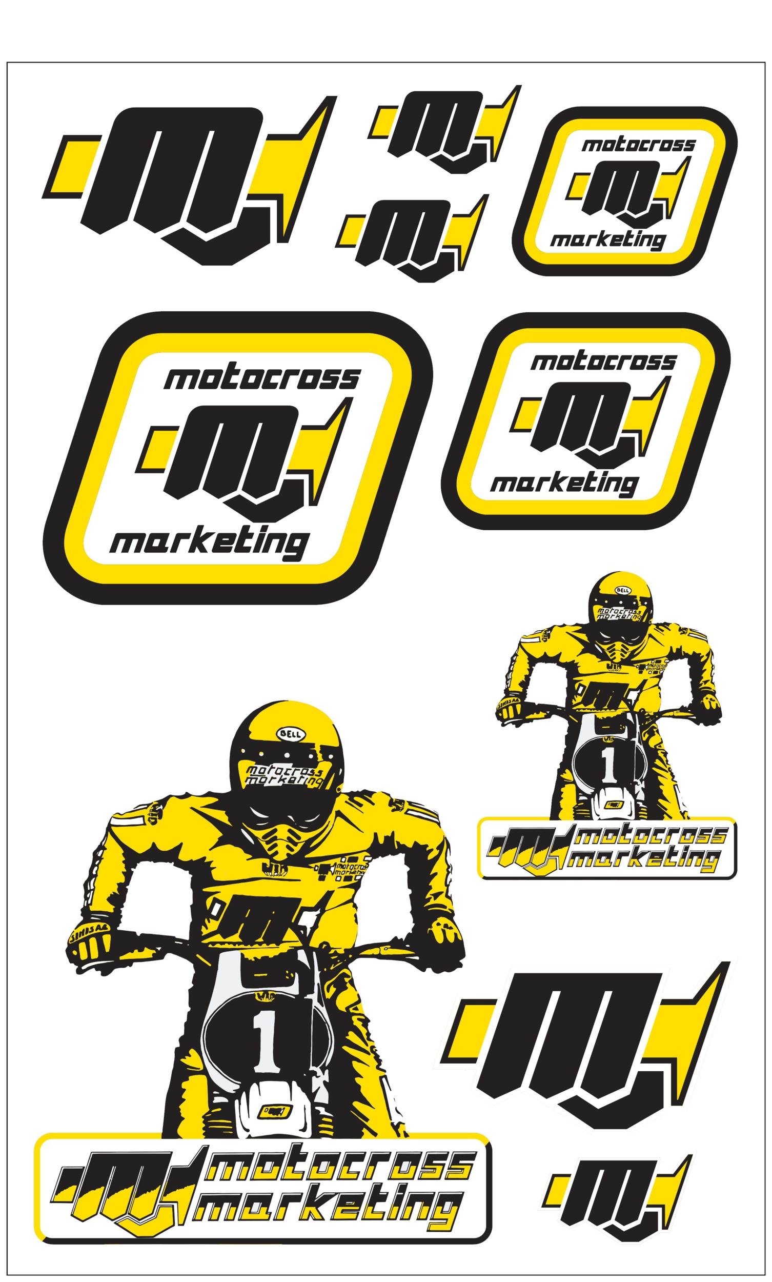 10 Stickers MXM Noir / Jaune