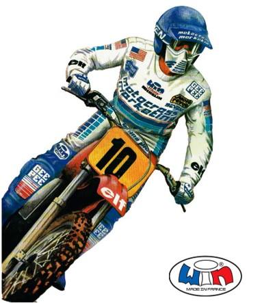 motocross vintage maillot pantalon moto cross trial enduro classic mx jersey pants bike moto equipement gear motocross marketing Phil Larson Win France