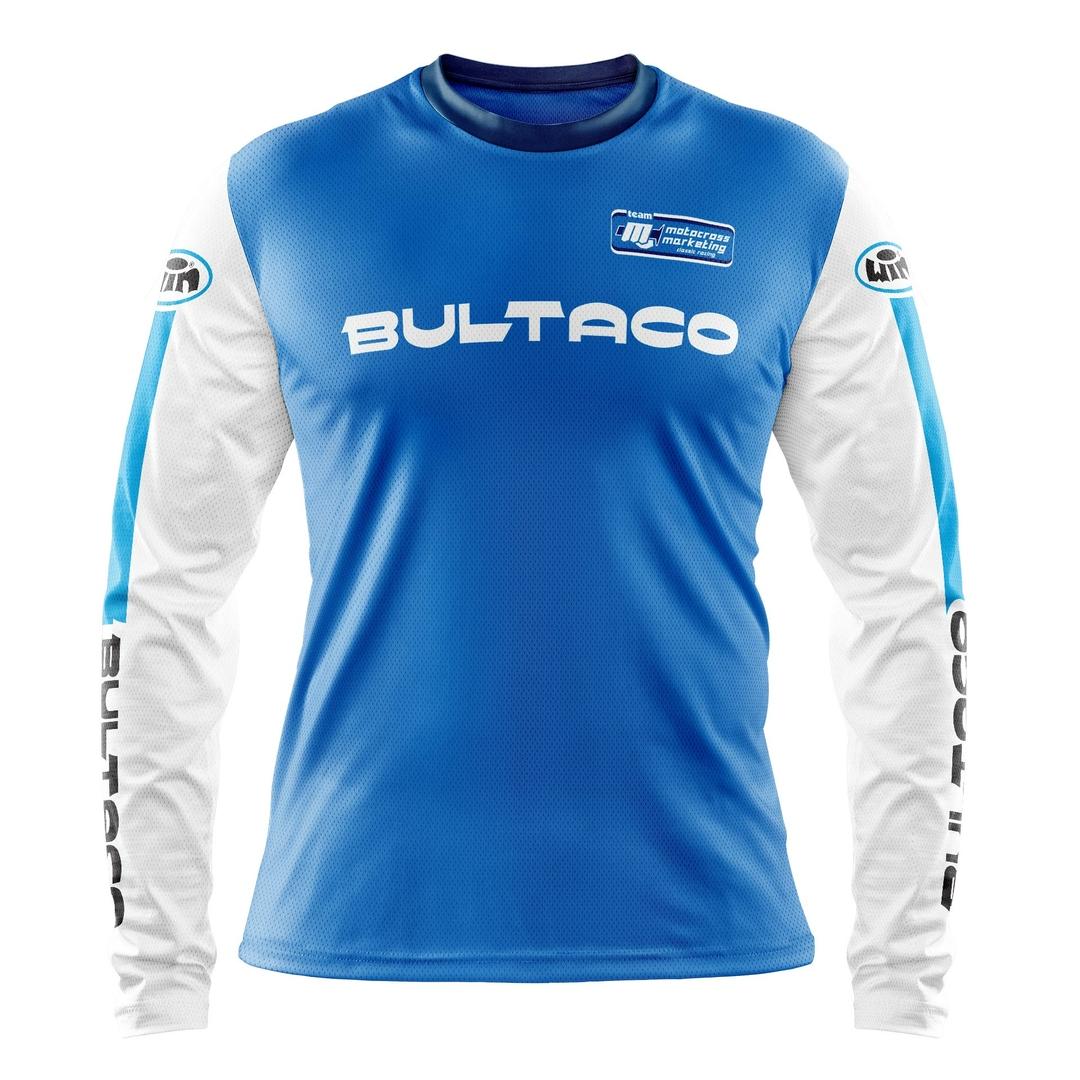 Maillot BULTACO Aéré Bleu Blanc Face