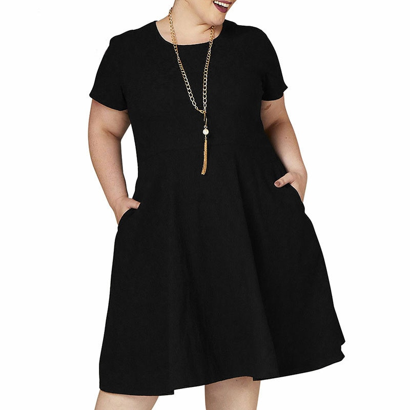 Robe ample à manches courtes grande taille