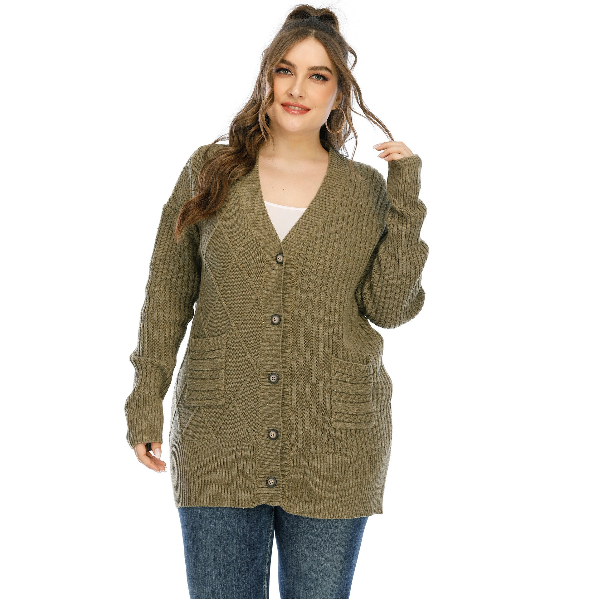 Pull cardigan tricoté grande taille