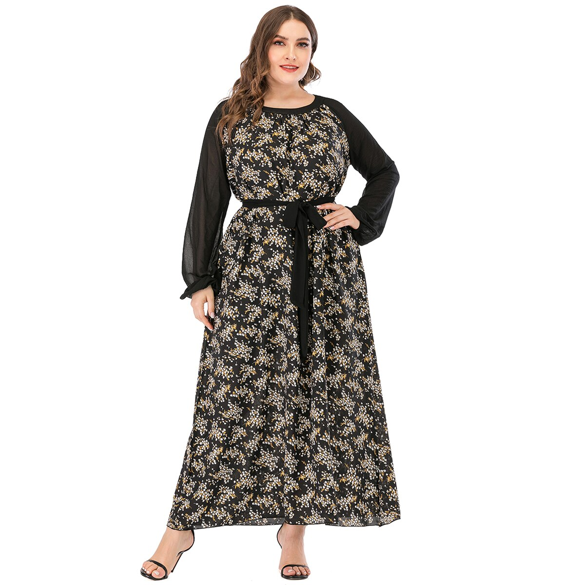 Maxi robe grande taille à manches longues