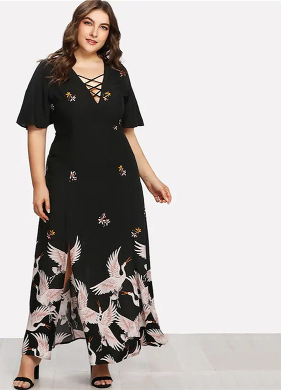 Pickyourlook-grande-taille-femmes-Robe-demi-manches-t-l-gant-grandes-dames-Maxi-robes-chinois-Vintage