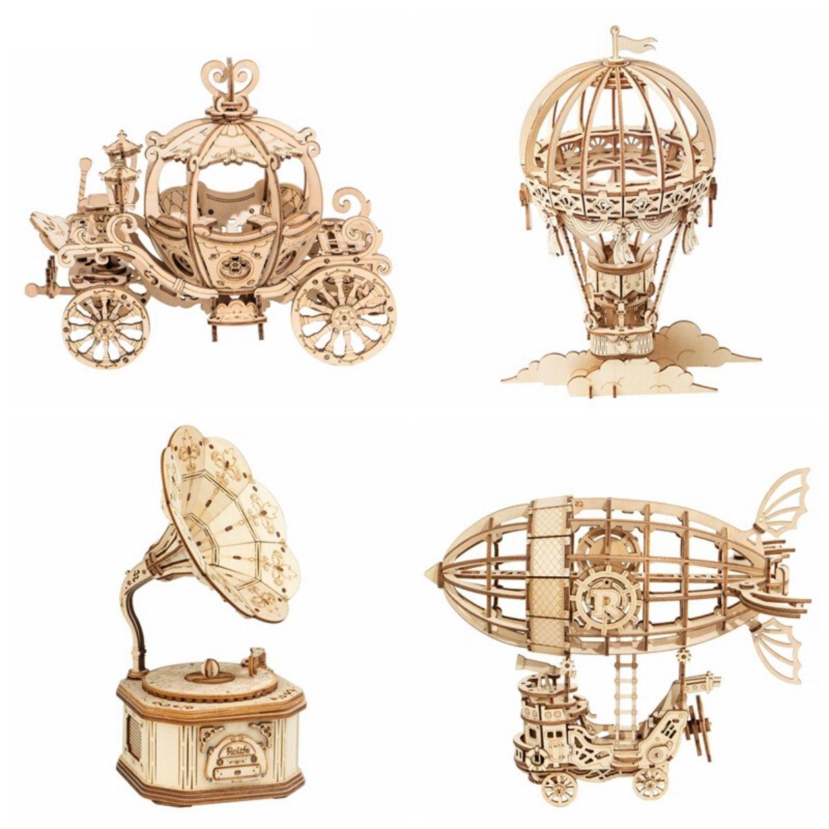Puzzle en Bois 3D Dirigeable, Carrosse, Montgolfière, Gramophone
