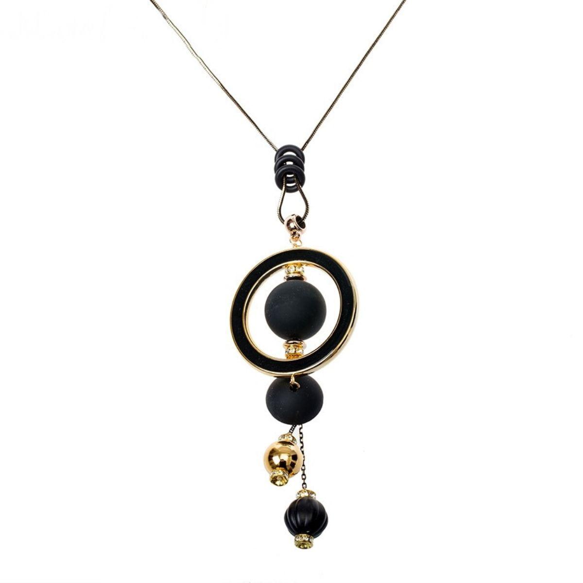 Collier long, pendentif Sphère et cercle en bois et métal.