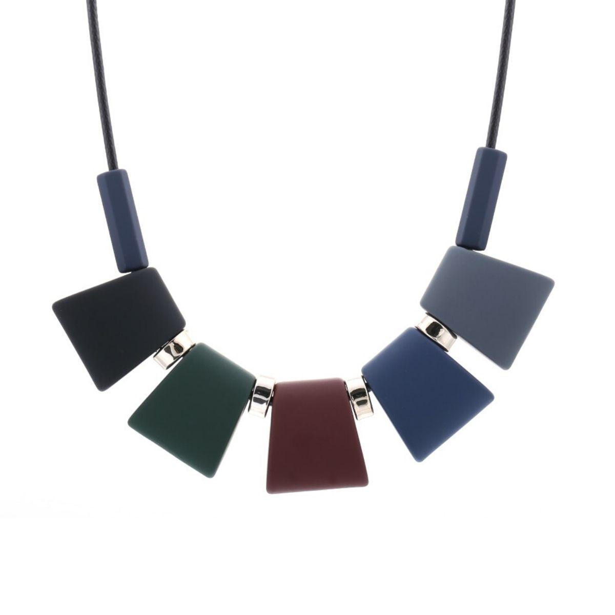 Collier ras de cou, pendentifs rectangles en bois