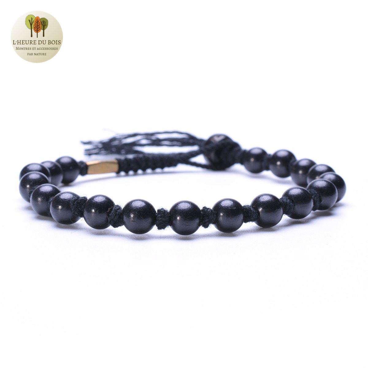 Bracelet Zen en corde et perle de bois