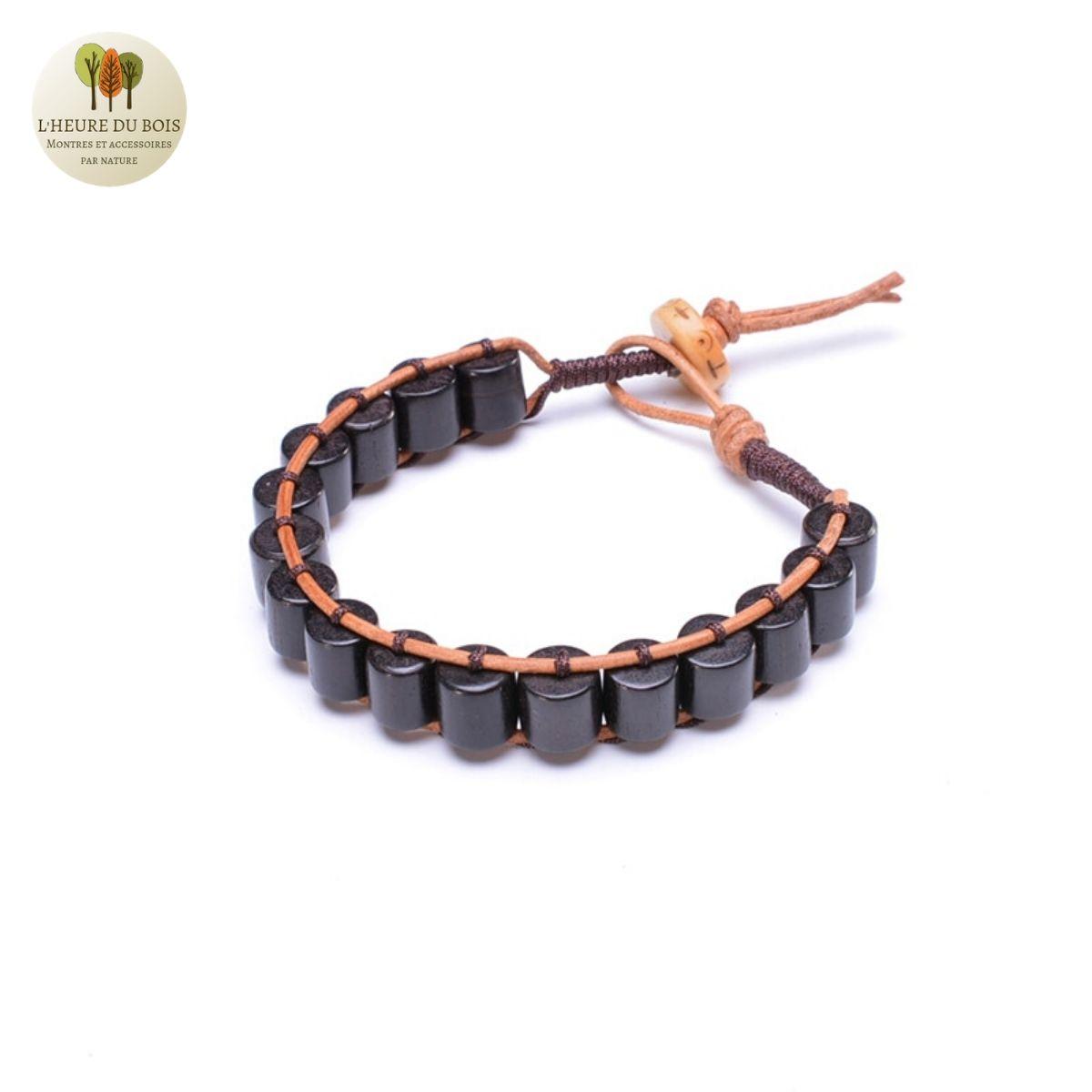 Bracelet en cuir tissé et bois