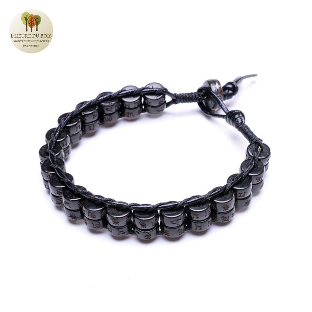 Bracelet cuir tissé et double perle de bois