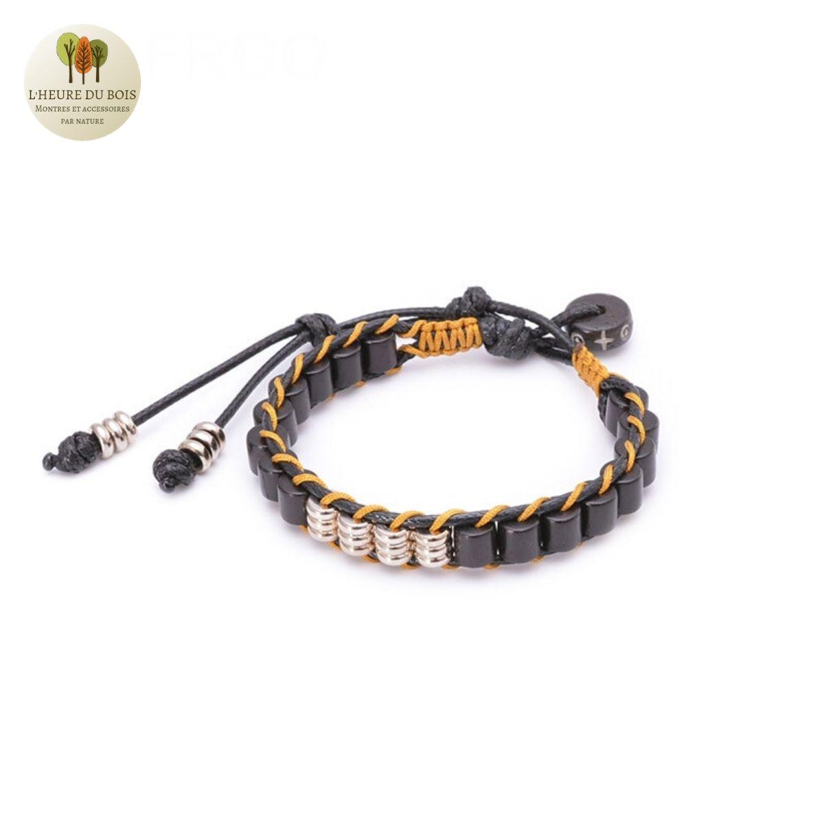 Bracelet en corde de cire et perles de bois