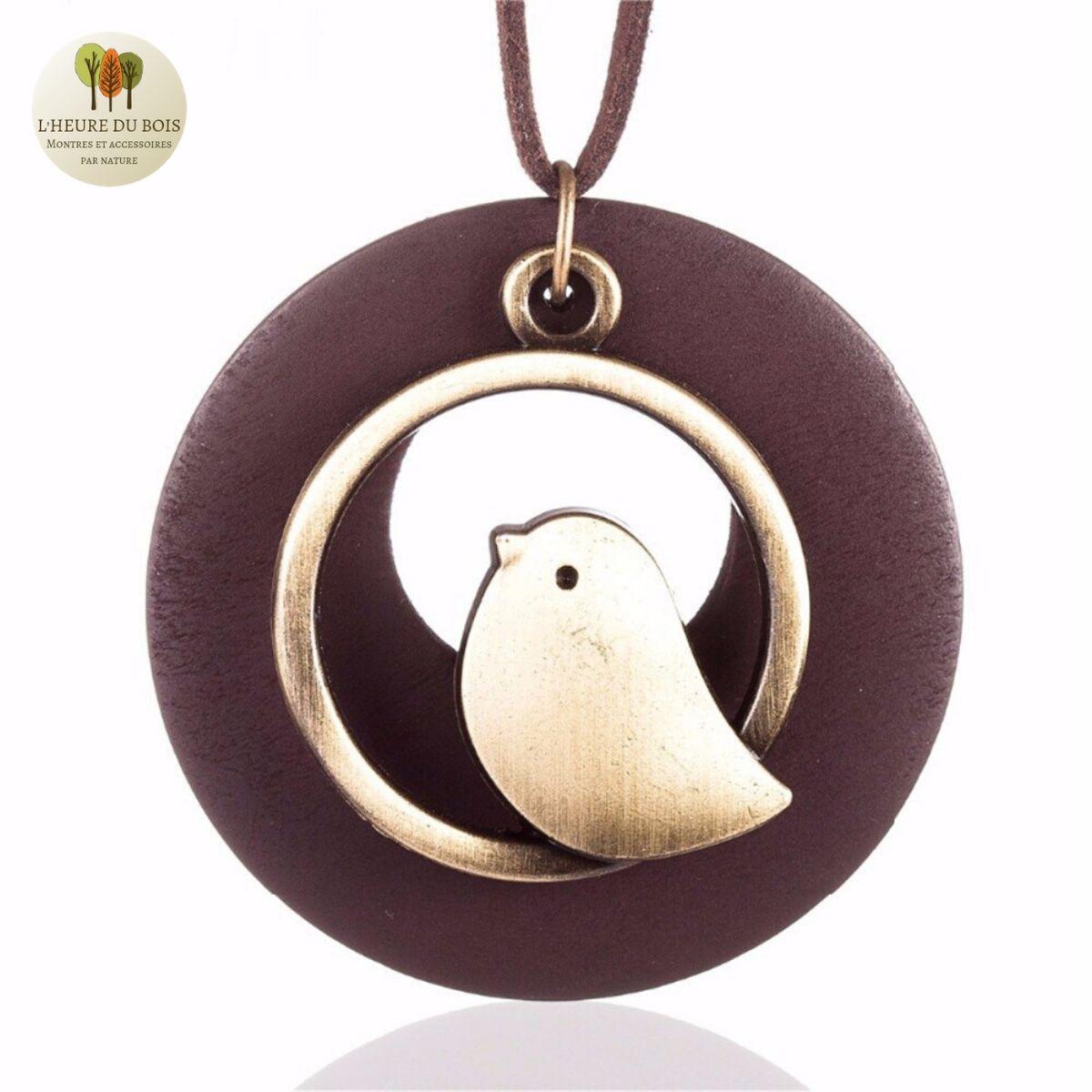 Collier long Oiseau et bois des santal