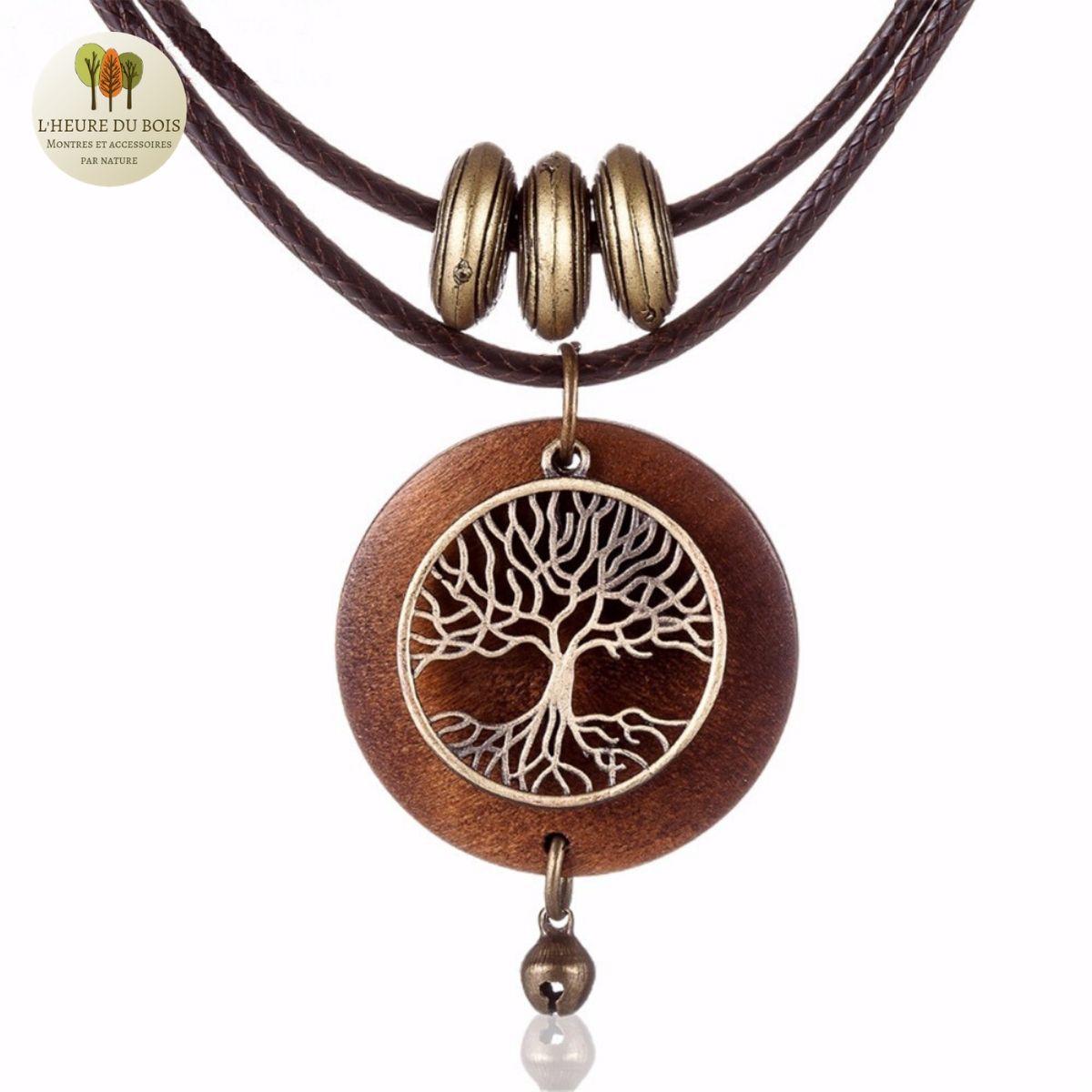 Collier et pendentif bois arbre de vie (4)