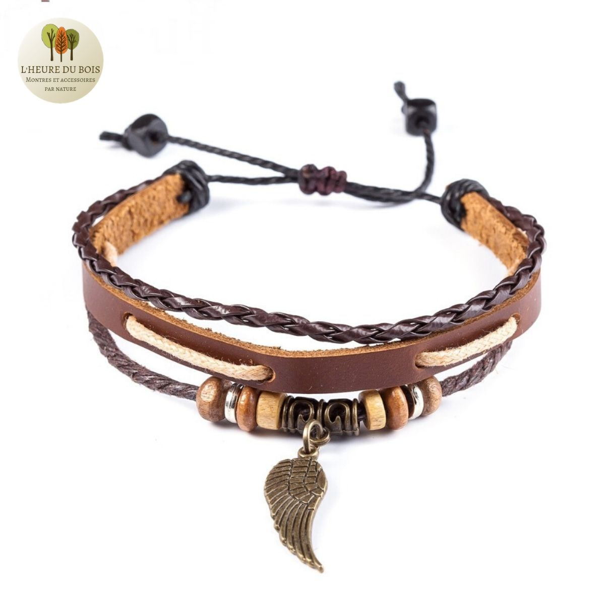Bracelet en cuir et perle de bois aile
