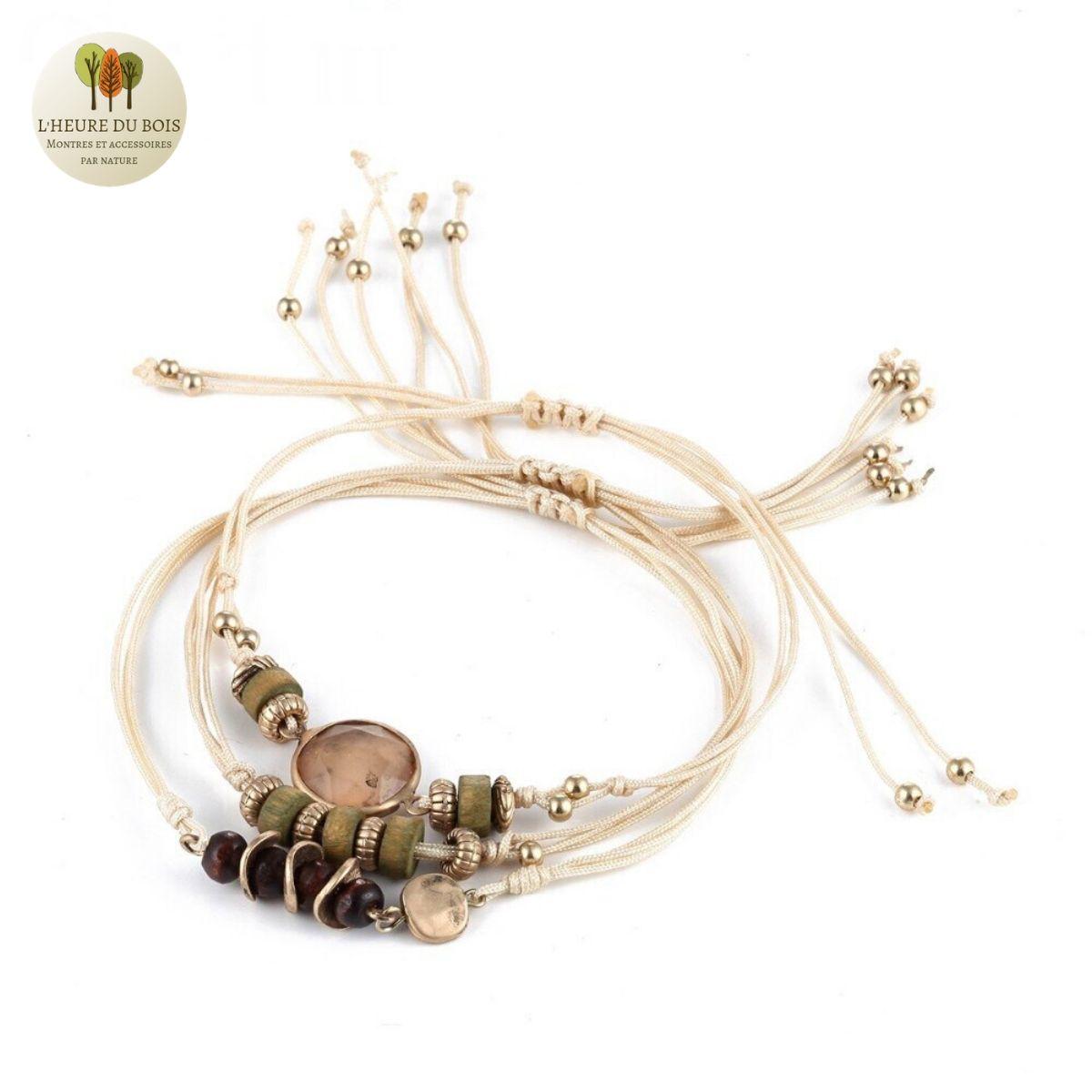 Bracelet trio perle de bois et pierres