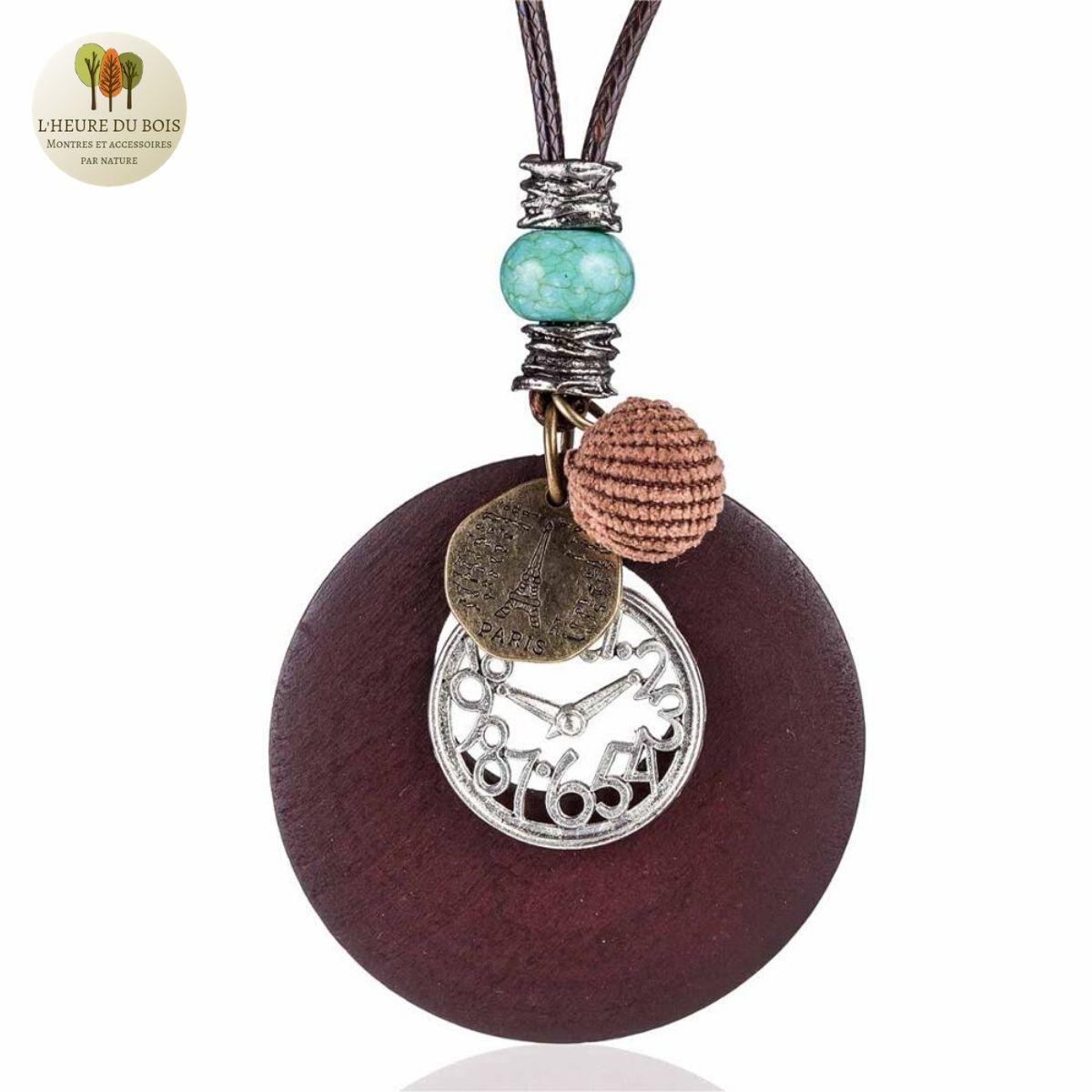 Collier long et pendentif en bois horloge (6)