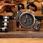 Coffret cadeau montre en bois ebene et son bracelet (9)