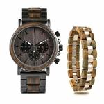 Coffret cadeau montre en bois ebene et son bracelet (5)