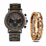Coffret cadeau montre en bois ebene et son bracelet (4)