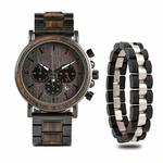 Coffret cadeau montre en bois ebene et son bracelet (2)