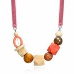 Collier ras de cou perle en bois (7)