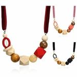 Collier ras de cou perle en bois (5)