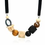 Collier ras de cou perle en bois (6)