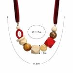 Collier ras de cou perle en bois (4)