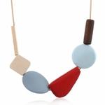 Collier ras de cou élément géométrique bois (5)