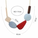 Collier ras de cou élément géométrique bois (1)
