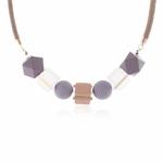 Collier ras de cou, pendentif sphère et cube en bois multicolore (6)